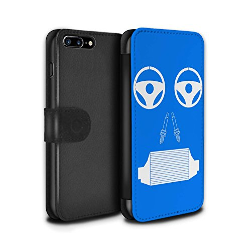 Stuff4 Coque/Etui/Housse Cuir PU Case/Cover pour Apple iPhone 8 Plus / Radiateur/Bleu Design / Visages Pièce Voiture Collection Radiateur/Bleu