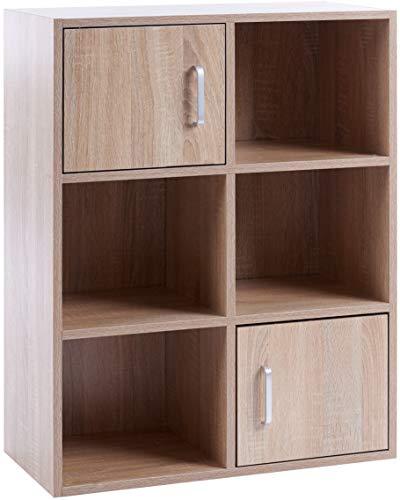 ts-ideen Standregal Bücherregal Sideboard Buchregal Holz Eiche Sonoma Modern mit Türen (Sideboard Bücherregal)