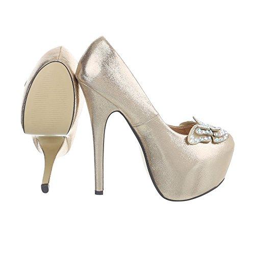 High Heel Pumps Damenschuhe High Heel Pumps Pfennig-/Stilettoabsatz High Heels Ital-Design Pumps Gold HP15