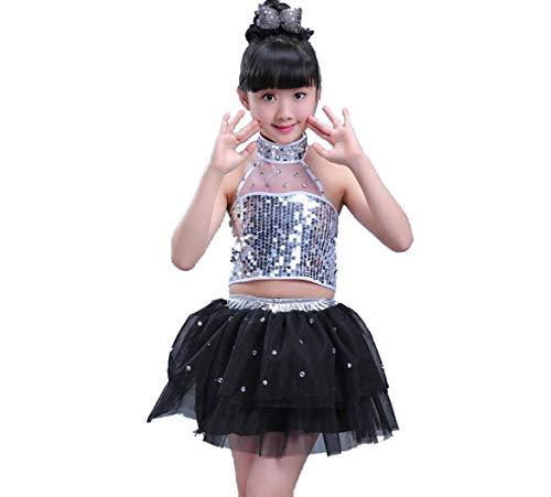 ZYLL Tanzkostüme für Jungen Jazz Kostüme für Kinder Jazz Kostüme Mädchen Modern Dance Wear,Black,130CM (Black Jazz Dance Kostüm)
