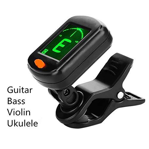 Duhe Tuner E-Digital-Gitarren-Tuner mit Clip, faltbar, hohe Empfindlichkeit, drehbarer Clip