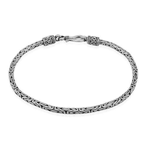 Pulsera de cadena de plata de ley 925 para hombre con diseño de Bali, de 2,5 mm de grosor, 19 cm de largo
