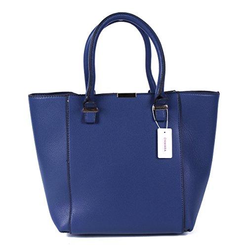 Damara Damen Elegant Große Einfarbige Henkeltaschen,Blau Blau