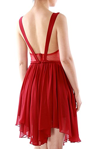 MACloth Women Mini Prom Dress Sexy V Neck Chiffon Cocktail Party Formal Gown Dunkelgrun