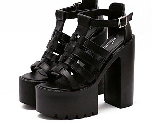 YCMDM Femmes Cool Été Nouveau étanche Toe High HeelsSandals Single Chaussures Blanc Noir Black