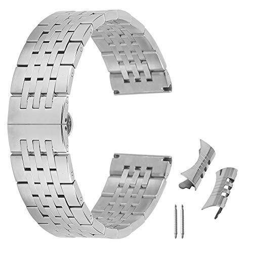 AUTULET Herren Edelstahl Uhrenarmband Silber- 24mm