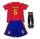 Conjunto de la selección Nacional de España de la Copa del Mundo de fútbol FFF / 2018 Jersey de Camiseta de la Copa del Mundo NO.1 de España, Manga Corta + Calcetines/Talla estándar para niños,Red,20