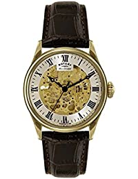 Rotary Men's GS02941/03 Gold Plated Skeleton Mechanical Watch