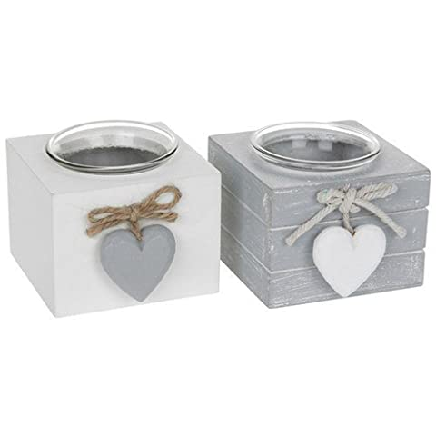 Set of 2 Provence Single Tealight Holders - Grey and