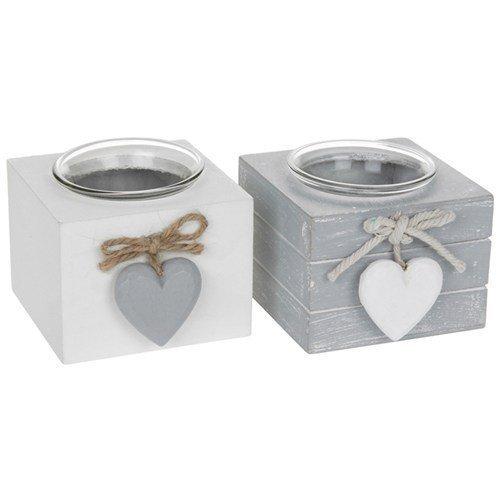 PROVENCE Teelichthalter/Shappy schick/Holz mit Herzen - grau