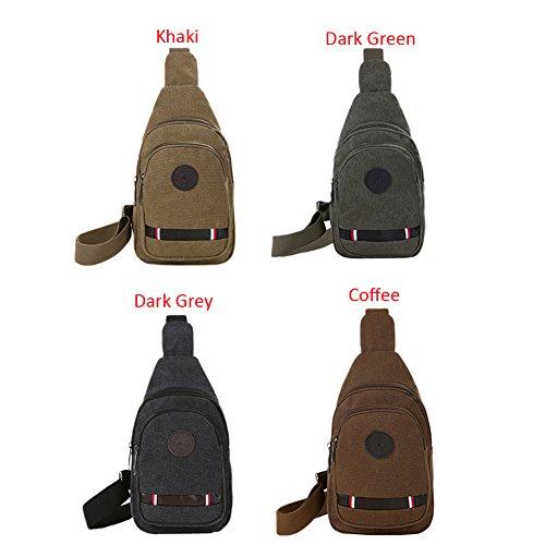 Romacci Herren Segeltuch Beutel justierbarer Gurt Reißverschluss Durable Outdoor-Feste Sling Shoulder Bag Kaffee