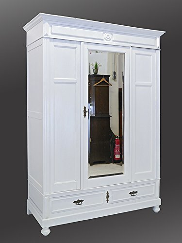 Kleiderschrank Spiegelschrank Garderobenschrank Antik in Weiß B: 151 cm (6734)