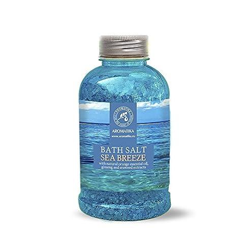 Badesalz Seebrise, Meersalz mit natürlichem ätherischen Orangenöl und Extrakten aus Ginseng und Algen, natur Bade-Salz am besten für guten Schlaf /Stressabbau / Beauty/ Baden /Körperpflege /Wellness /Schönheit /Entspannung / Aromatherapie/SPA, Badezusatz - 1er Pack (1 x 600 g), von AROMATIKA