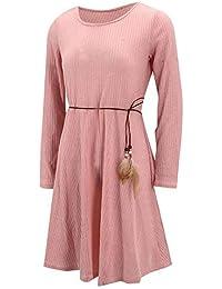 FELZ vestidos Casual de Fiesta con Mangas largas Mini Club Vestido de  Corbata de Plumas T Shirt Dress de Cuello… 1a68033e1a43
