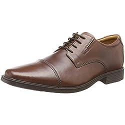 Clarks Tilden Cap - zapatos con cordones de cuero hombre, color marrón, talla 44