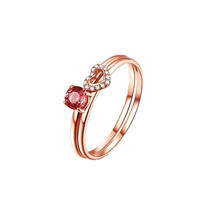 KnSam Verlobungsringe Echt Weißgold Ehering Damen Gold Zwei Ringe Zwei In Einem Herz Natürlich 0.4 Carat Saphir 0.04 Carat Diamant Rosa 1