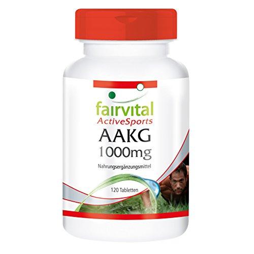 AAKG 1000mg L-Arginine-Alpha-Céto-glutarate, végan, haute biodisponibilité, 120 comprimés sans additifs, pour une meilleure performance et endurance