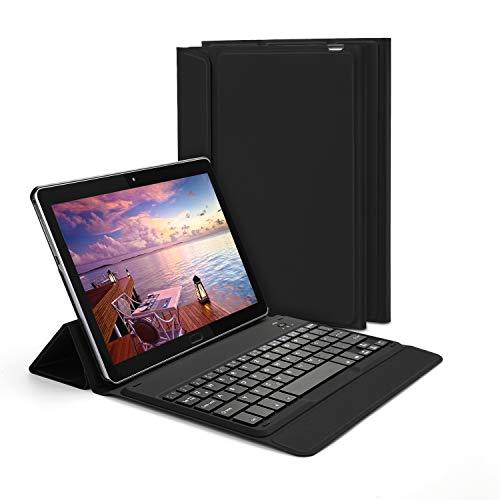 Jelly Comb Huawei MediaPad T5 10.1 Bluetooth Tastatur Hülle, QWERTZ Android Tablet Tastatur mit Ultraslim Schützhülle für Huawei MediaPad T5 25,54cm (10,1 Zoll), Schwarz - Tastatur Android-tablets Mit