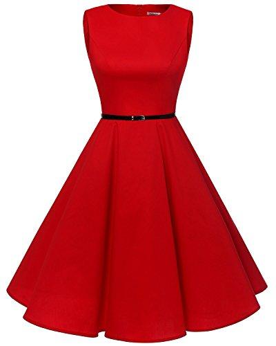 Bbonlinedress 50s Vestidos Vintage Retro Rockabilly Clásico Red S