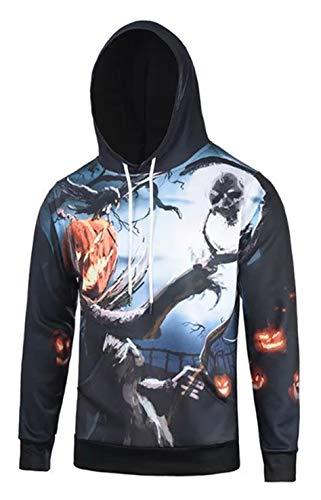 Pizoff Unisex Halloween Sweatshirts Kapuzenpullover - Hip Hop mit 3D Digital Print Geschenke Kürbis Cosplay Kürbis-Monster und Skelett AG001-13-M