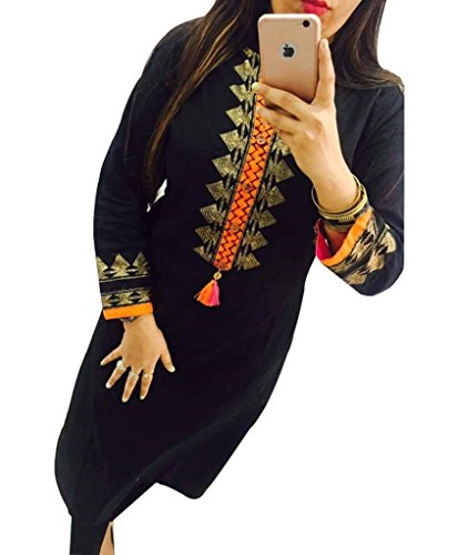 Black Georgette Embroidered Un-Stitched Straight Kurti  available at amazon for Rs.489