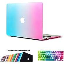 MacBook Air 11 Funda,iNeseon(TM) 2 in 1 [Frosted Series]Ultra Delgado Carcasa Dura Shell Case US Versión Arcoiris e EU Versión Transparent Cubierta del Teclado para Apple MacBook Air 11/11.6 pulgada [Modelo:A1370 e A1465](Arcoiris)