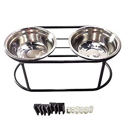 E-harvest Steel high Stand Feeder for dogs with Stainless Steel Double Bowls,Elevated Food Bowl Holder Set - Raised Cat Feeding Station Stand,3 sizes for all dogs. by E-harvest