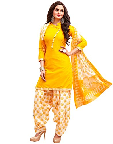 Jevi Prints Women's Unstitched Dress Material (SK-204_Yellow_Free Size)