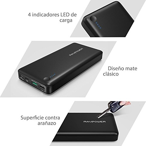 Quick Charge 3.0 Power Bank 20100mAh Qualcomm RAVPower QC 3.0 Carga Rápida Bateria Externa para Móvil, iPhone 7 iPhone 7 Plus, Samsung, Tablet Type C de Entrada y Salida