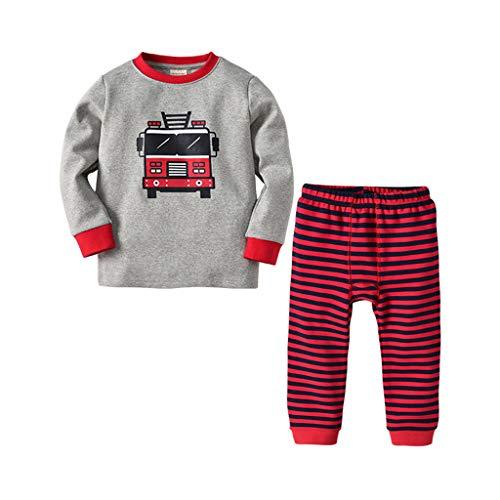Ensembles de Bébé ❤️Robemon Toddler Kids Bébé Unisex Garçons Filles Pajamas Cartoon Printed Tops Rayure Pantalons Outfits