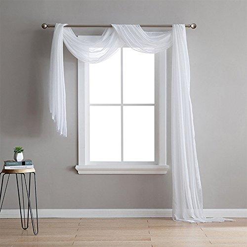 Ocamo 150cmx550cm (60x 216) Eleganten Luxus Weiß Vorhang Sheer Fenster Voile Schal Dekoration Weiß 1Stück