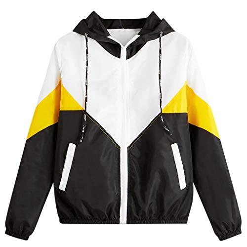 MRULIC Damen Lange Sweatjacke Kapuzenjacke Sweatshirtjacke Herbst Frühling Heißer Frauen Mädchen lang Esprit Mantel Long Sleeve Hooded Zipper Pockets Sport Coat(3-Gelb,L)