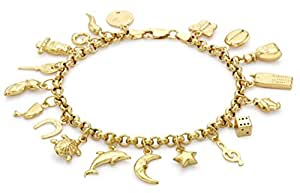 Carissima Gold 9 ct Yellow Gold with 19 Assorted Charm Bracelet of Length 19 cm/7.5 inch
