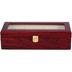 Storage Case - SODIAL(R) 6 Wood Watch Display Case Box Glass Top Jewelry Storage Organizer Gift Men