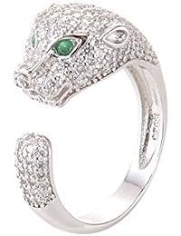 ChezAbbey Women's White Copper Adjustable Wedding Engagement Open Ring Animal Leopard Ring