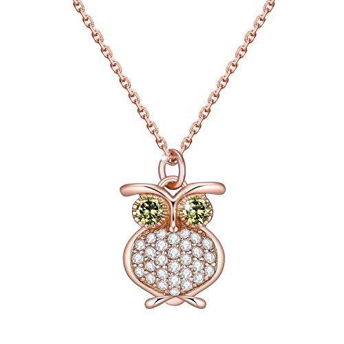 Veecans collana donna placcata oro rosa con pendente gufo realizzato con zircone swarovski, luxury collection idea regalo per natale, prolunga 40+4cm
