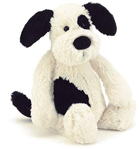 Jellycat Bashful Welpe Hund Kuscheltier Stofftier Plüsch - mittelgross - 31cm - Puppy Dog - Schwarz und Creme (Nacht Creme Japan)