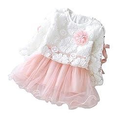 Idea Regalo - YanHoo Autunno Infantile Bambino Abiti Outfits, Bambini Ragazze Festa Pizzo Tutu Principessa Vestito (70, Rosa)