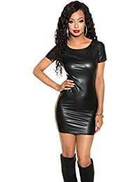 Koucla Damen Minikleid Mini Kleid Wetlook 2-Wege-Zipper Leder Optik sexy eng Party S 32 34 36