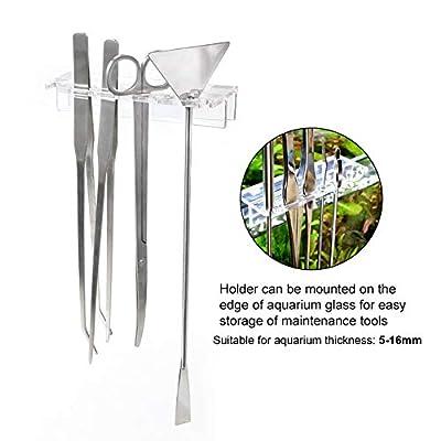 QYONLINE Aquarium Pflanzen Tools, Wasserpflanze Pinzette Schere Spachtel-Werkzeug mit Rack Halterung, 5 in 1 Edelstahl Aquarium Kits für Fisch Tank Pflanzen, Aquarium Landschaftsbau