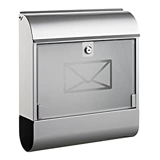 Alco 8608 Letterbox with Newspaper Box, Approx. 36 x 40 x 11 cm, Silver