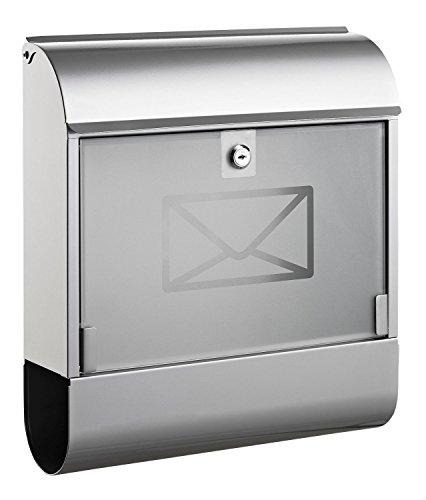 Lackiert Milchglas (Alco 8608 Briefkasten mit Zeitungsbox, ca. 36 x 40 x 11 cm, silber)