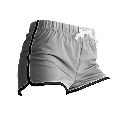 Skinni Fit Damen Sport-Shorts / Retro-Shorts (Medium) (Grau meliert/Weiß) (Sport Shorts)