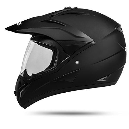 Ato moto, casco GS War, colore nero opaco Enduro con visiera ECE 2205