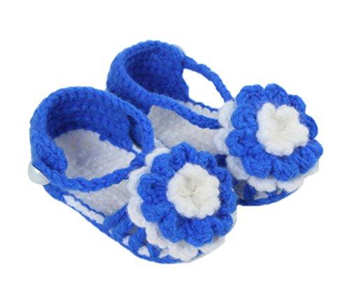 Smile YKK 1 Paar Lieber Stil Strick Schuh Baby Unisex Strickschuh 11cm lilienweiss Blume Blume Königsblau