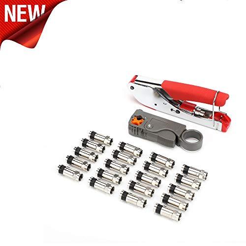 TAOtTAO Koaxialkabel Crimp-Abisolier-Set für F-Kopf Koaxialkabel Abisolierzange RG6 / RG59 Kompressions-F-Stecker Crimpzangensatz (A)