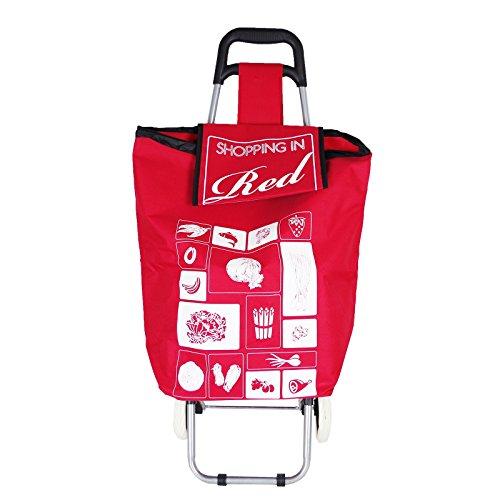 Trolley grün rot schwarz oder lila Einkaufswagen Einkaufsroller Einkaufstrolley, Farbe:rot