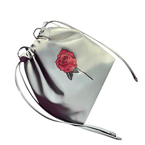 Femmes Sac,OverDose Mode Broderie Des Roses Sac à Main Cordon De Serrage Fourre-Tout Dames Bourse Gris
