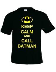 Camiseta Keep Calm and Call Batman negra manga corta (Talla: TALLA-XL)