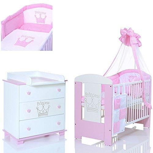 PRINZESSIN rosa Babyzimmer Möbel Komplettset für Mädchen mit Kinderbett 120x60 Wickelkommode 9 teiligen Bettwäsche Set weiss (Günstige Baby Betten)